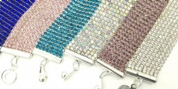 Crystal cuff bracelet kits - 20mm -  6 colours to choose from
